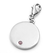 Jun Birthstone Sterling Silver Charm for Bracelets 3/4 Inch