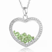 Astra August Birthstone Sterling Silver Heart Necklace