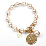 V Initial Gold Plated & Cotton Pearl Bracelet by John Wind