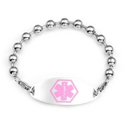 Kari Beaded Bracelet & Pink Medical ID Tag