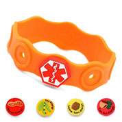 Kids Rubber Medical Alert Allergy Bracelets for Buttons