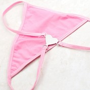 Small Pink G String & Monogrammed Stainless Heart
