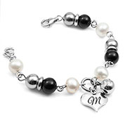 Leiliani Heart Charm Medical Bracelet in Pearl & Onyx