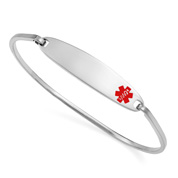 Lesly Silver Bangle Medical ID Bracelets