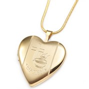 20mm Gold Filled Baptism 2 Photo Heart Locket 3/4 inch