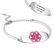 Lymphedema Adjustable Medical ID Bracelet with Pink Symbol