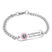 Lymphedema Bracelet with Pink Medical Emblem 7 Inch