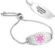 Lymphedema Pink Floral Design Medical Bracelet