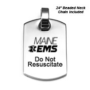 Maine Do Not Resuscitate DNR Necklace 24 In