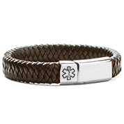 Braided Brown Leather Medical Alert Bracelet for Men