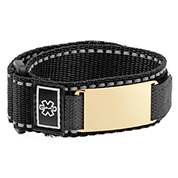 Adjustable Sports Strap Medical Bracelet with Gold Tag