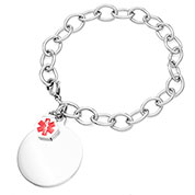 Medical Bracelet with Round Charm 7 inch