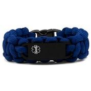 Medical ID Alert Blue Paracord Bracelet & Black Tag XS