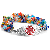 Millefiori Bead Bracelet with Medical Blue Tag