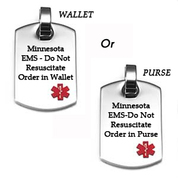 Minnesota Do Not Resuscitate ID Necklace with 24 In Neck Chain