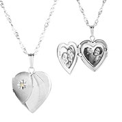 Sterling Silver Diamond Heart Engraved Locket Necklace
