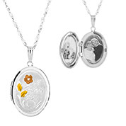 Love You Sterling Silver 2 Pic Engraved Locket