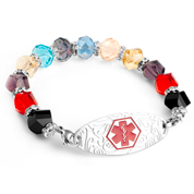 Multi Color Bead Bracelet with Red Medical Tag