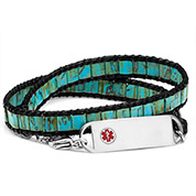 Ocean Teal Adjustable Wrap ID Bracelet
