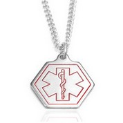 Oneida Stainless Steel Hexagon Medical Necklace