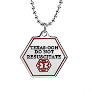 Texas DNR Medical Alert Stainless Necklace 24 In