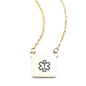 Petite Square Medical Necklace Gold