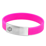 Pink Silicone Bracelet & Stainless Steel Medical Tag XLG