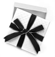 Small White Gift Box with Black and Silver Lined Bow