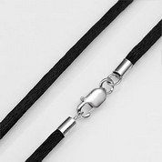 Twenty Inch Black Satin Necklace & Sterling Silver Clasp