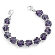 Purple Stretch Bead Bracelet for Medical Tags 6 inch