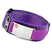 Purple Velcro Strap Medical ID Bracelet