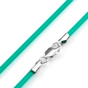 Small 2mm Emerald Rubber Necklace & Sterling Silver Clasp