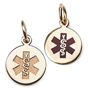 14k Gold Petite Red or Outline Medical ID Charms