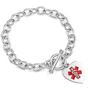Amara Sterling Heart Charm Medical ID Bracelet
