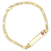 Personalized 14k Gold Figaro Medical Bracelet for Women