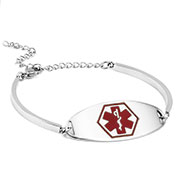 Reba Steel Adjustable Emergency ID Bracelet