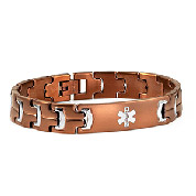 Rich Brown Plated Steel Medical Alert Bracelet for Men 8 In