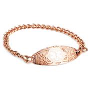 Rose Gold Link Bracelet with Medical Tag