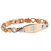 Rose Gold Heart Linking Medical Alert Bracelet