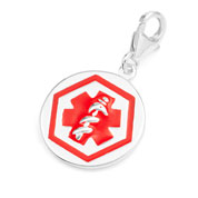 Round Sterling Silver Red Alert Medical Charm