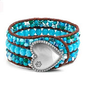 Caribbean Isle Heart Button Beaded Leather Cuff MD