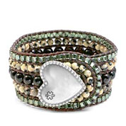 Dalmatian Jasper Heart Button Beaded Leather Cuff LG