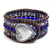 Midnight Moon Heart Button Beaded Leather Cuff SM