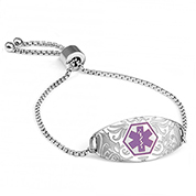 Sabrina Medical Alert Bracelet with Lavender Symbol