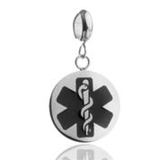 Black Medical Symbol Stainless Disk with Charm Holder