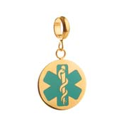 Turquoise Medical Symbol Gold Plated Stainless Disk with Charm Holder