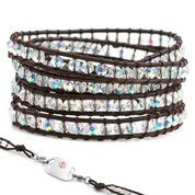 Blue Crystal & Leather Beaded Medical Alert Bracelet