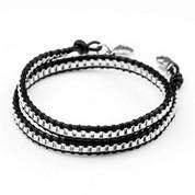 Small Chain Black Leather Womens Double Wrap Bracelet