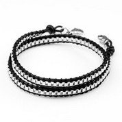 Large Chain Black Leather Womens Double Wrap Bracelet