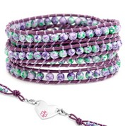 Violet & Green Leather Wrap Beaded Medical Alert Bracelets
